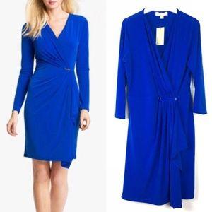 Michael Kors Royal Blue Faux Wrap Metal Bar Dress